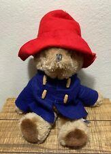 "1982 Vtg Paddington Bear Red Hat & Navy Coat London England 15"" Plush Eden Toys"