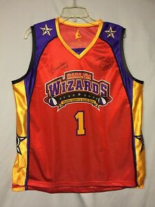 Harlem Wizards Tricks Hoops&Alley Oops #1 Autographed Basketball Jersey Adult M