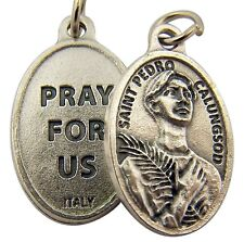 Silver Toned Base Saint Pedro Calungsod Pray for Us Medal Pendant, 1 Inch