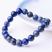 Natural Lapis Lazuli Bracelet Healing Crystal Stretch Beaded Bangle Chain Unisex