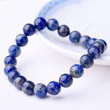 Natural Lapis Lazuli Bracelet Healing Crystal Stretch Beaded Bangle Chain Unisex