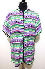 CULT VINTAGE '80 Camicia Donna Seta Optical Blusa Silk Woman Shirt Sz.L - 46