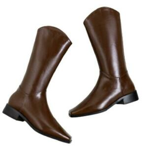 Women Cowgirl Cowboy Boots Low Heel Winter Western Work Mid Calf Riding Shoes