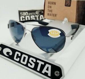 """COSTA DEL MAR palladium silver/gray """"SOUTH POINT"""" POLARIZED 580P sunglasses NEW!"""
