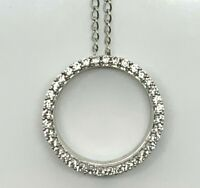 Fancy Sterling Silver 925 Round CZ Cubic Zirconia Eternity Halo Pendant Necklace