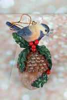 "4"" Bird on Acorn with Holly Resin Christmas Ornament Glitter"