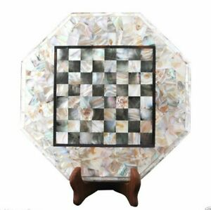 """15"""" Marble Chess Table Top Inlay Handmade Work For Home Decor"""