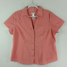 Liz & Co Womens Top Short Sleeve V Neck Button Down Fitted Sizes 1XL Red White