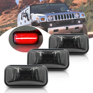 3Pc Rear Red LED Cab Roof Light Kit for Hummer H2 03-09 Smoke Clearance Top Lamp