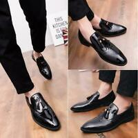 Men's British  Leather Brogue Shoes Formal Business Wedding Oxfords Pointed Toe