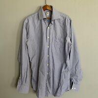 Peter Millar Nanoluxe Button Down Check Shirt Med Blue Brown EasyCare 15.5/Long