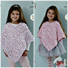 KNITTING PATTERN Girls Easy Knit Lacy Poncho Yummy Chunky 4537