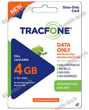 TracFone 4GB DATA Only Plan Refill Smartphones iPhone Android Smart Phone BYOP