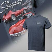 1968-1972 Corvette C3 Stingray Red on Charcoal Heather T-Shirt 684800