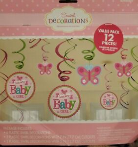 PINK Hanging Swirl WELCOME BABY GIRL Butterfly Decorations-  12pcs - NEW