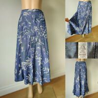 "MARKS & SPENCER Women Blue Floral Flare Skirt UK 18 Cotton Blend L33"" Immaculate"
