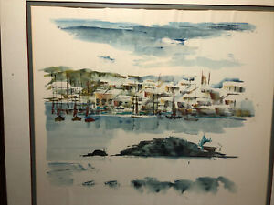 Vintage Alfred Birdsey Impressionism Watercolor Mid-Century Bahamas Painting
