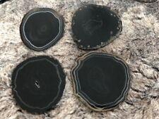 Black Agate Microcrystalline Quartz Premium Coasters (set of 4) Gift