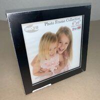 Black 6 in 15 cm Square Photo Frame w/ Silver Edge Detail B232 MZ