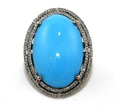 Estate Huge Oval Turquoise Cocktail Ring w/Diamond Halo 14k White Gold 20.0Ct