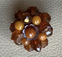 Antique Amber Brooch Victorian Butterscotch Honey Faceted Pin Jewellery Old