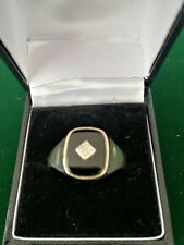Gents Solid Silver Black Onyx & Diamond Signet Ring