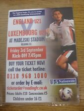 03/09/1999 England U21 v Luxembourg U21 [At Reading] - Glossy Flyer Advertising
