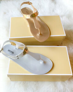 MICHAEL KORS Jelly PVC Thong Sandal MK Logo Plate Matte Silver Gold NEW IN BOX