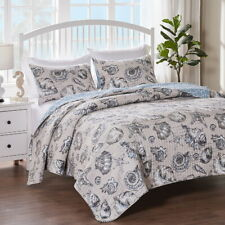 Beach Coastal Tropical Ocean Seashell Starfish Blue Taupe 3pc Quilt Bedding Set