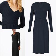 M & S Navy Fit And Flare Wrap Rib Midi Dress BNWT £39.00 Sz 10 Stretchy