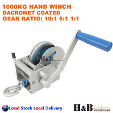 1000 Kg Marine Hand Winch Anti-corrosion Coated 3 Speed 6mm X 10m Winch Rope 4wd