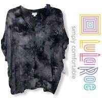 NWT LuLaRoe Sz S Gray Tie Dye Amy Button Down Cropped Top Blouse Shirt New