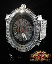 Genuine 8 Diamond Men's Techno Royale Watch 6 Row Custom Band White Gold Finish