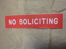 "RED WHITE ""NO SOLICITING""  2"" X 8"" ENGRAVED SIGN BY COSCO  DURABLE 980012"