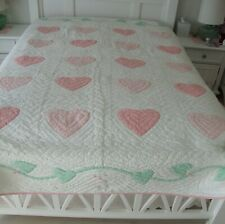 Pink Applique Heart Quilt (Queen) from Chambers Linens