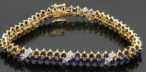 Vintage heavy 18K gold 10.8CTW diamond/Blue sapphire cluster 3-row link bracelet