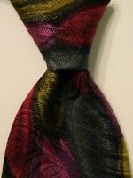 CLASSICO by ALLURE Men's Silk Necktie ITALY Designer Geometric Multi-Color EUC