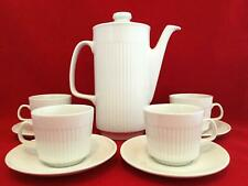 Johnston Brothers ATHENA White Ribbed Coffee/Teapot + 4 Cups/ Mugs & Saucers