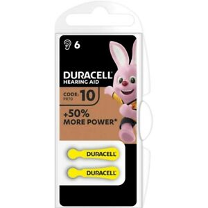 6 Piles Auditives Duracell Hearing Aid 10 / PR70