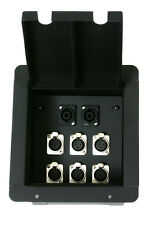 Elite Core Recessed Stage Audio Metal Floor Pocket Box w/ 6 XLR Mic & 2 Speakon