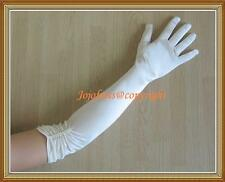 "Satin WHITE EXTRA LONG FINGERED BRIDAL WEDDING PROM GLOVE pearl,21""L"