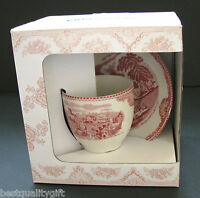 NEW VINTAGE LOOK JOHNSON BROTHERS 2 PC SET CRIMSON+WHITE TEA CUP+PLATE,SAUCER