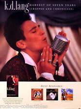 KD Lang 1991 Original Harvest Of 7 Years Promo Poster