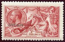 "RARE 1915 De La Rue 5/- pale rose-carmine MH opt ""Specimen"".  Spec # N68sa."