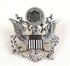 WWII US ARMY MILITARY OFFICERS CAP EAGLE BADGE INSIGNIA SILVER