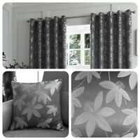 Curtina Grey Eyelet Curtains ROMOLO Jacquard Bedroom Living Room & Cushions