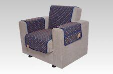 kombinierter Armlehnen- und Sesselschoner Setangebot Wolle Noppen blau
