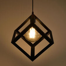 Modern Vintage Metal Hanging Pendant Ceiling Edison Light Lamp Bulb Cage Black