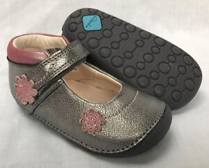 BNIB Clarks Girl Little Fizzi Metallic Leather Cruising First Shoes E/F/G/H