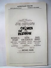 CRIMES OF PASSION Playbill JOE ORTON / DAVID BIRNEY / RICHARD DYSART NYC 1969